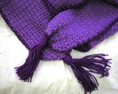 Purple Crochet Scarf - One of a Kind - Winter Scarf - Long Scarf