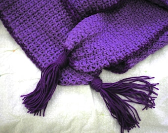 Purple Crochet Scarf - One of a Kind - Winter Scarf - Long Scarf