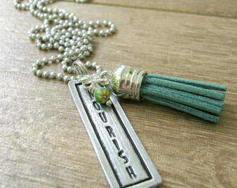 Nourish Necklace, pewter bar, flower bead, green tassel, alum ball chain, Love Yourself, Inspirational jewelry, Motivational necklace