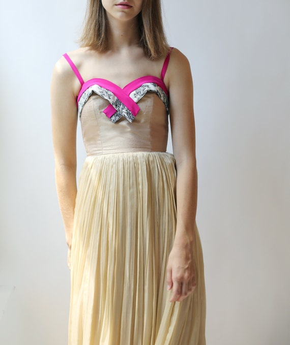 Sample SALE - long beige silk chiffon dress