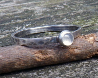 Moonstone sterling silver stacking ring