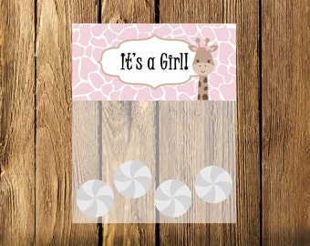 Printable Pink Giraffe Girl Baby Shower Bag Toppers