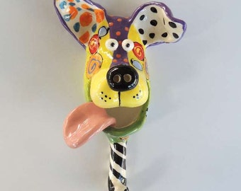 Small Dog Mask with Leash Hook Ceramic Wall Hanging Handmade by Dottie Dracos, Wild Wild Things; ceramic dog mask, ID D41628