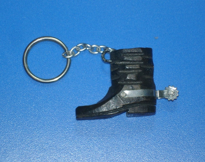 Vintage Handcarved Wood Western Boot Keychain