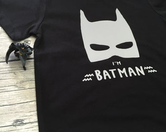 Boys Black I'm Batman short Sleeve T Shirt modern graphic trendy Superhero