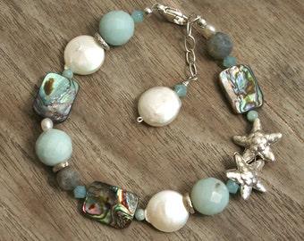 Starfish Bracelet, Beach Bracelet, Mermaid Bracelet, Coin Pearl Bracelet, Abalone Bracelet, Aqua Bracelet, Summer Bracelet, Coastal style