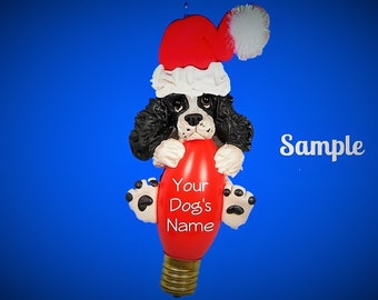 Black & White English Springer Spaniel docked tail Santa Christmas Light Bulb Ornament Sally's Bits of Clay PERSONALIZED FREE with dogs name