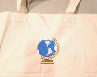 Teacher Tote Bag or Gift Wrap Earth Globe Canvas Tote Bag EMBROIDERED Ready to Ship 100% Cotton