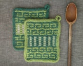 Two Hand knit Felted Wool Potholders  Felt Trivets Hot Pads  Functional Art  Modern Kitchen  Hand Made in Teal Green Soft White and Gray
