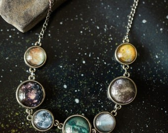 Moons of the Solar System - Double Sided Necklace, Science Jewellery - Europa, Ganymede, Io, Callisto, Titan, Triton, Moon - Outer Space
