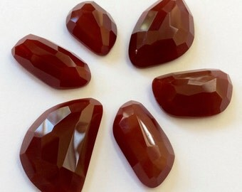 Gemstone Cabochon Carnelian Free Form Faceted Parcel SIX CABS