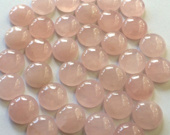 Gemstone Cabochons Rose Quartz Round 12mm TWO CABS