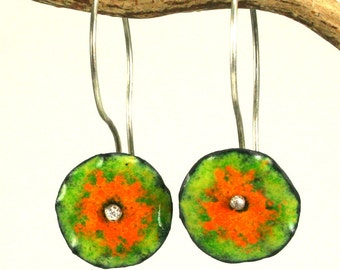 Ruffled Lime and Orange colorful dangle Earring Copper Enamel