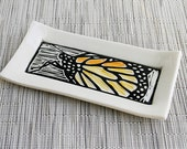 Handmade Ceramic Butter Dish with Monarch Butterfly