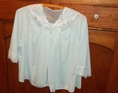 Shortly Bed  Jacket Top , Nylon ,Chiffon and Lace Vintage Shadow Line short robe ,Bed Shirt Baby Blue , size Small