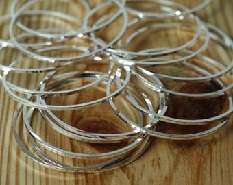 50 pcs Silver plated on brass circular link connector O ring 36mm outer diameter aprox 1mm (18g) thick (item ID FA00230SP)
