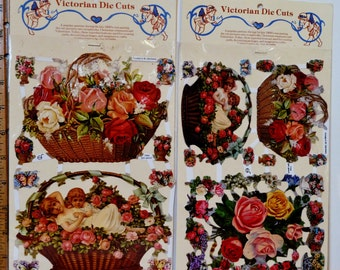 Die Cut 5 sheets W. Germany EF NEW sealed Victoria flowers birds angles lots baskets roses nests robins butterflies vintage reproduct