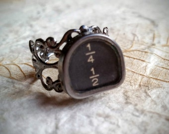 SHOP SPECIAL! Fraction Filigree - Antique Typewriter Key Ring