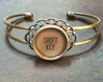 SIMPLY FEMININE - Single Antique Typewriter Key Cuff Bracelet
