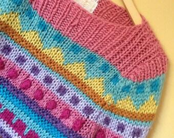 Vtg Hand Knit Rainbow Goddess Girl Sweater