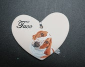 Hand Painted Ceramic Heart Pet Memorial Ornament by Pigatopia / Shannon Ivins Basset Hound