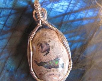 Opal Wire Wrapped Pendant Opal Pendant