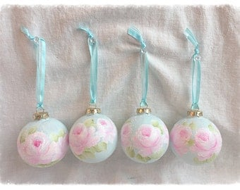 """2.5"""" Robins Egg Blue ORNAMENTS Hand Painted Pink Roses Glass Round Ball ecs SVFTeam sct schteam"""