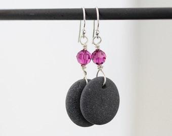 Sea Stone earrings - Gift for her - Pebble Earrings - Alaska Beach stones jewelry - Beach earrings - Under 25 gift - Sterling silver