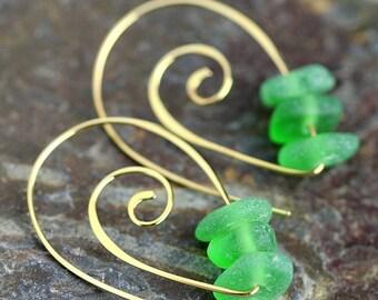 Sea glass and Bronze earrings, Spirals, Sea glass earrings, beach glass jewelry, green