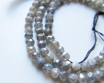 4mm Faceted Rondelle Labradorite Beads, Full Strand