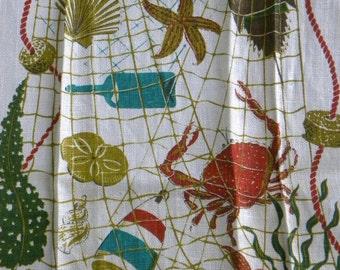 Linen Kitchen Towel Wert Country Prints Beach Comber Ocean Cottage Decor Vintage Hand Towel