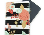 Black and White Stripe Floral Passport Holder / Cover / Wallet