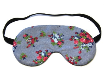 Blue Flower Bunch Sleep Eye Mask, Sleeping Mask, Travel Mask, Eye Mask, Sleep Mask