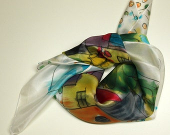 Hand painted Silk Mini. Hand painted Silk scarf. Silk mini-scarf - Houses and trees scarf - Woman scarf - 21.7x21.7 in