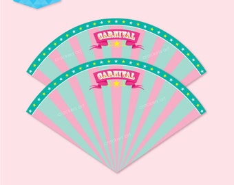 Instant Download - CARNIVAL CIRCUS Popcorn Cones Printable (Pink/Green)