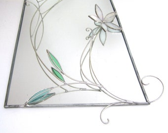 Winter Blossom - 3D Stained Glass Wall Accent - White Flower Mirror Home Decor Wall Hanging Suncatcher Wire Nature Scene  (READY TO SHIP)