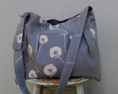 Grey Messenger Bag Custom Hand Printed Dandelions with Adjustable Strap Six Pockets Attaches to Stroller