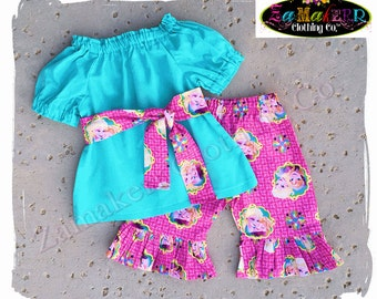 Children Boutique Clothing Girl Frozen Elsa Anna Top Pant Peasant Outfit Set Birthday Party Summer Size 3 6 9 12 18 24 month 2 3 4 5 6 7 8 T