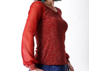 SALE Red womens top, Red sheer sleeved top, Sparkly red top, Womens tshirts, Womens tees, Womens clothing, Red long sleeve top, MALAM, UK12