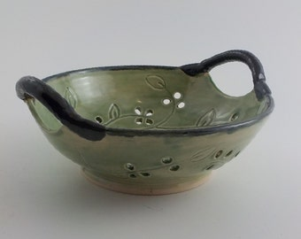 Pierced Fruit Bowl - Handmade Ceramic Centerpiece - Decorative Stoneware - Celadon Green with Black Rim and Handles - Ready to Ship b361