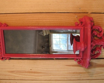 Mirrored Candle Sconce Watermelon Pink  Wall Decor Vintage Burwood on sale