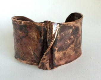 Wide Hand Formed and Hammered Copper Cuff