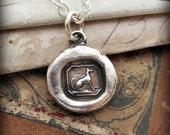 Tiny Greyhound Wax Seal Necklace, Greyhound Wax Seal Pendant in eco freindly fine silver, Greyhound Jewelry - V1245