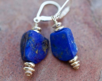 Matte Lapis Lazuli, Thai and Sterling Silver Earrings