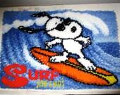 Snoopy Surfing Rug - Latch Hook Yarn Rug - Peanuts Vintage 1980's