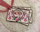 Victorian Valentine Tags - Vintage Pink Heart Cherub Tags - Pink Flowers and Hearts - Set of 4