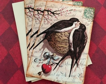 French Swallow Bird Nest and Heart Notecards - Flat Postcard Notes, Valentines Notecards - Set of 3