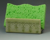 Ceramic Sponge Holder, Pottery Sponge Holder in Pale Yellow with Green Accent, Soap Dish