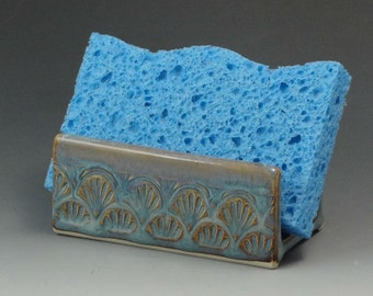 Ceramic Sponge Holder, Pottery Sponge Holder in Light Blue with Caramel Highlights, Soap Dish - READY TO SHIP