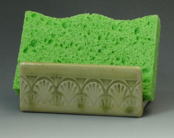 Ceramic Sponge Holder, Pottery Sponge Holder in Sunny Yellow with Green Accent, Art Nouveau Motif, Soap Dish